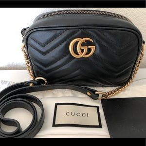 GUCCI mini camera black handbag crossbody marmont